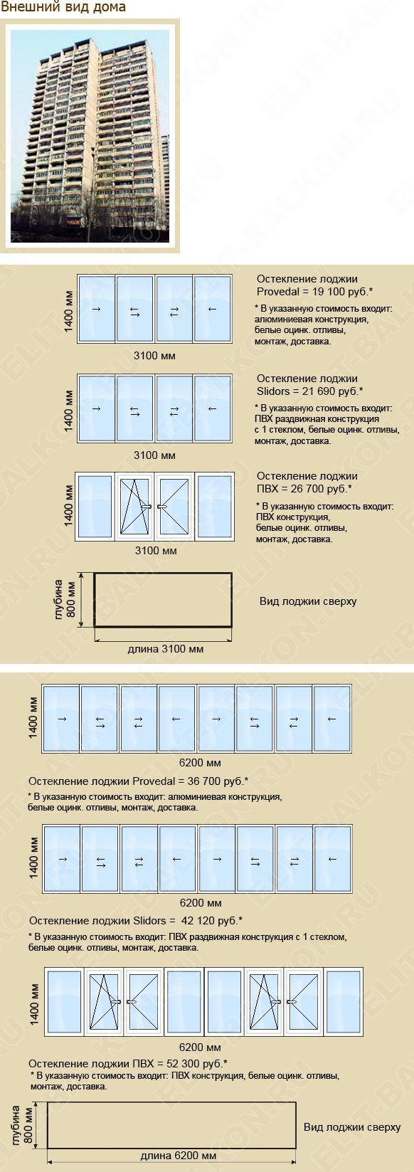 Стоимость остекления балконов. Тип дома И -700А