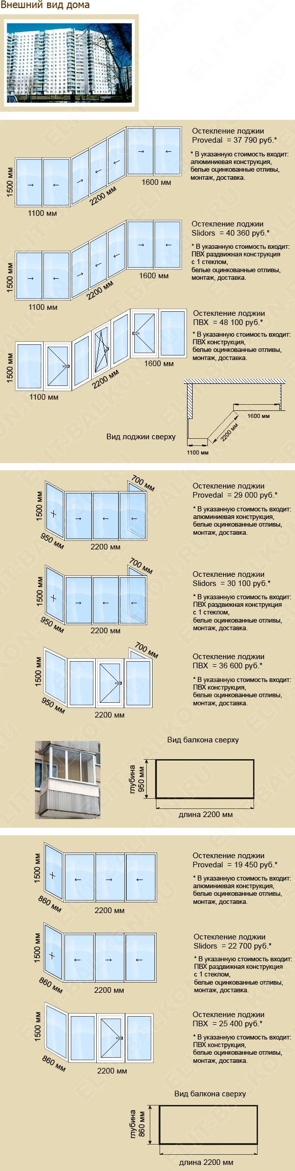 Стоимость остекления балконов. Тип дома П 3