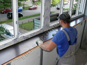 Osteklenie PVH lodzhii s betonnym parapetom vynos otdelka 34 1 387x291 - Фото остекления балкона № 52